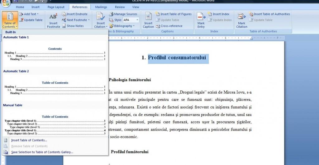 6 1024x531 Cum se genereaza automat cuprinsul in documentele Word